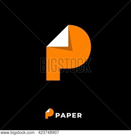 Paper Logo. Yellow P Monogram. Letter P With Bended Corner Like Document Blank.