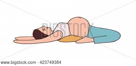Young Pregnant Woman Lying And Stretching With Loin On Pillow. Pregnancy Yoga Pose For Back Pain. Mo