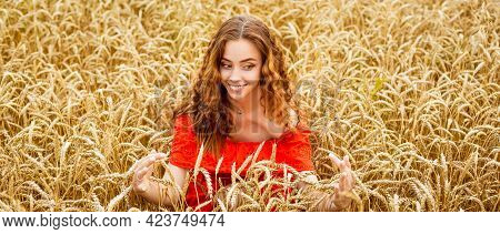 Style Redhead Young Woman In Red Clothes Tay View Yellow Wheat Nature Cute Girl Smiles With A Snow-w
