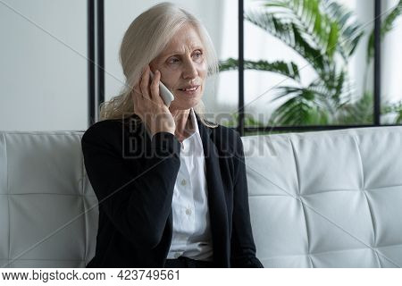Portrait Of An Elderly Woman In A Business Suit, Sitting On A Sofa And Talking On The Phone With A S