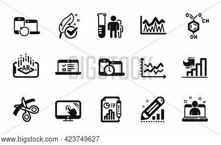 Vector Set Of Report Document, Web Lectures And Touch Screen Icons Simple Set. Recovery Devices, Hyp