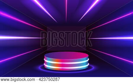 Stage For Performances, Product Presentation Podium Or Pedestal On Glossy Surface, Illuminated In Da
