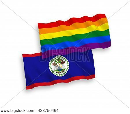 National Fabric Wave Flags Of Belize And Rainbow Gay Pride Isolated On White Background. 1 To 2 Prop