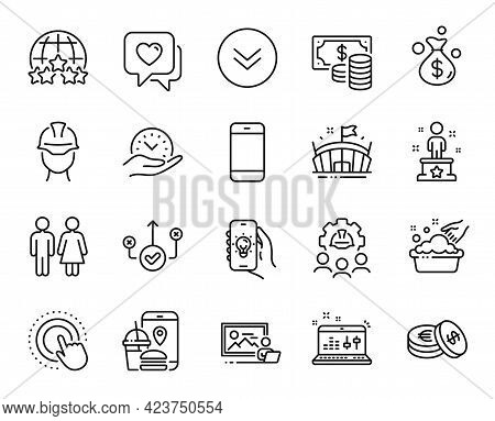 Vector Set Of Coins Banknote, Photo Studio And Heart Line Icons Set. Safe Time, Hand Washing And Eng