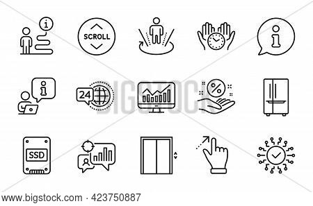 Technology Icons Set. Included Icon As Loan Percent, 24h Service, Safe Time Signs. Augmented Reality