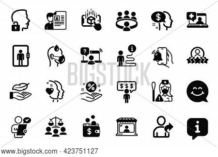 Vector Set Of People Icons Related To Elevator, Loan Percent And Online Question Icons. Meeting, Ala