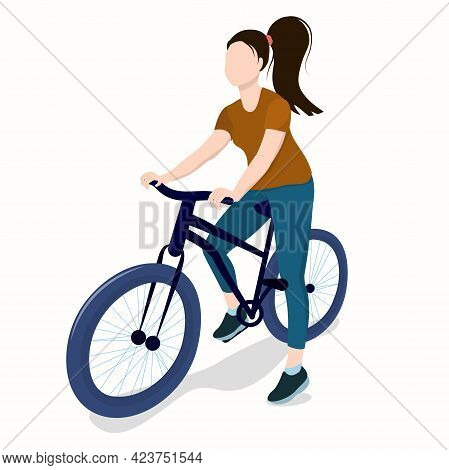 Young Athletic Brunette Woman On Bike Isolated On White Background
