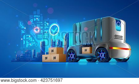 Autonomous Delivery Vehicle Of Future. Service Transportation Of Cargo Shipping To The Buyer. Roboti