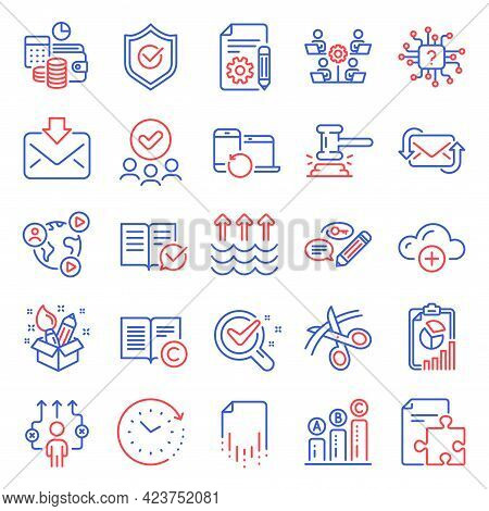Education Icons Set. Included Icon As Copyright, Recovery File, Incoming Mail Signs. Strategy, Refre