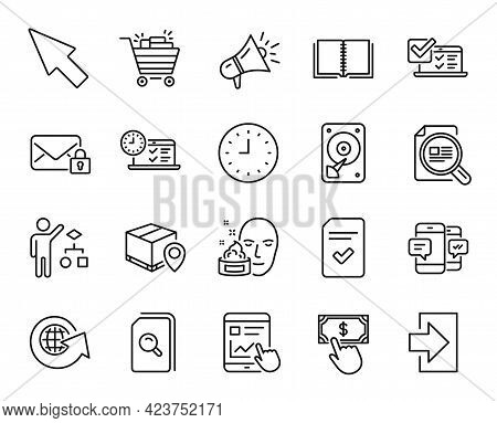 Vector Set Of Internet Report, Hdd And Online Test Line Icons Set. World Globe, Face Cream And Shopp