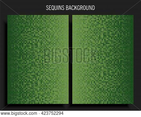 Poster Template Made Green Sequins Or Glitters