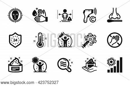Vector Set Of Face Detect, Coronavirus Statistics And Dont Touch Icons Simple Set. Electronic Thermo