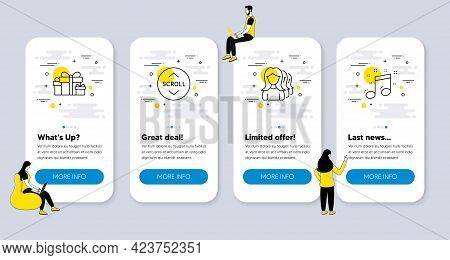 Vector Set Of Business Icons Related To Scroll Down, Women Headhunting And Holiday Presents Icons. U