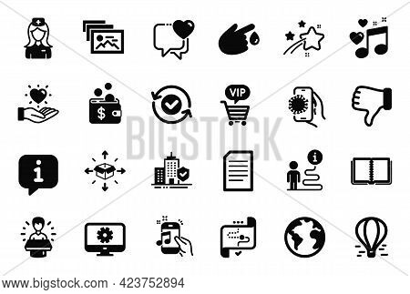 Vector Set Of Business Icons Related To Vip Shopping, Hold Heart And Brand Ambassador Icons. Air Bal