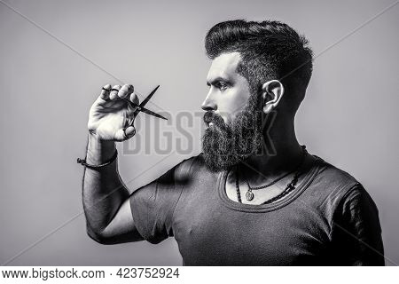Bearded Man Isolated On Gray Background. Mans Haircut In Barber Shop. Barber Scissors, Barber Shop.