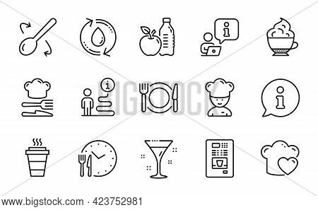 Food And Drink Icons Set. Included Icon As Food Time, Cappuccino Cream, Coffee Vending Signs. Restau