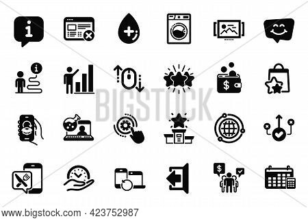 Vector Set Of Technology Icons Related To Star, Recovery Devices And Sign Out Icons. Safe Time, Cale