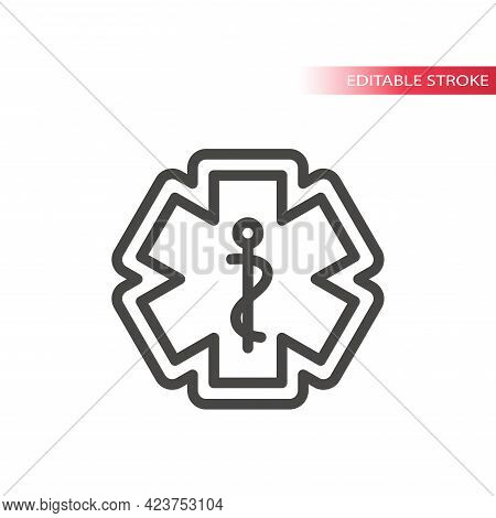 First Aid, Medical Emergency Vector Icon. Rod Of Asclepius Or Aesculapius With Snake, Ems Icon, Edit