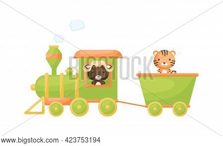 Cute Cartoon Green Train With Musk-ox Driver And Tiger On Waggon On White Background. Design For Chi