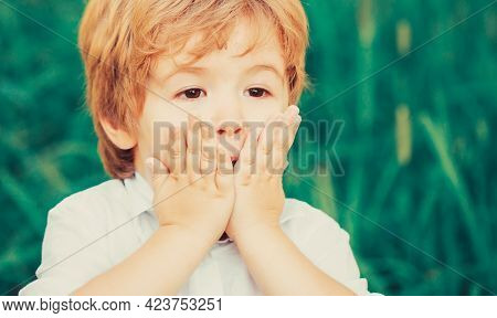 Child Expressing Surprise With His Hands In His Face. Smiling Amazed Or Surprised Child Boy. Shocked