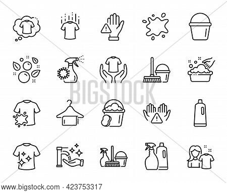 Vector Set Of Clean Towel, Hand Washing And Bucket Line Icons Set. Dirty T-shirt, Shampoo And Spray