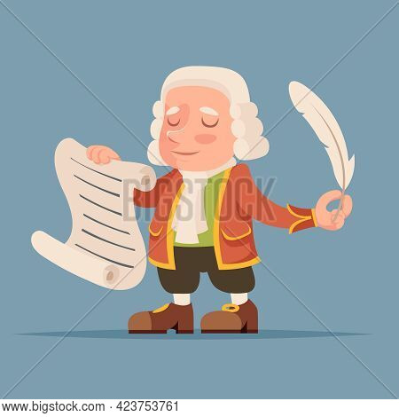 Writer Scribe Playwright Noble Medieval Mascot Aristocrat Icon Cartoon Design Vector Illustration