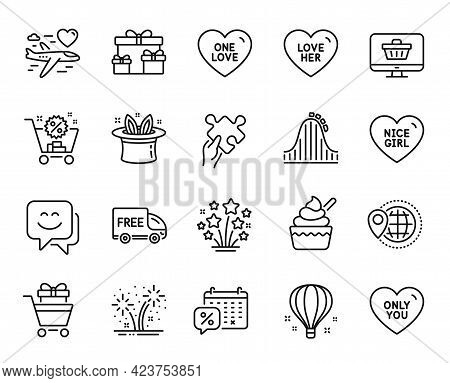 Vector Set Of Only You, One Love And Surprise Boxes Line Icons Set. Air Balloon, Free Delivery And F