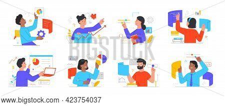 Diverse Mutiracial Business People Interacting To Workflow Operations. Workforce Process Optimizatio