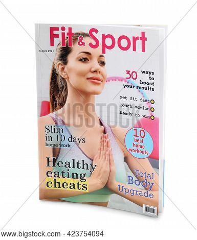 Modern Printed Sportive Magazine On White Background