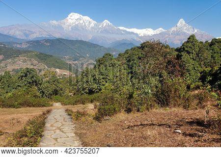Mount Annapurna South And Stone Pathway, Nepal Himalayas Mountains