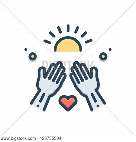 Color Illustration Icon For Goodness Well-being Virtue Kindness Mildness Hands
