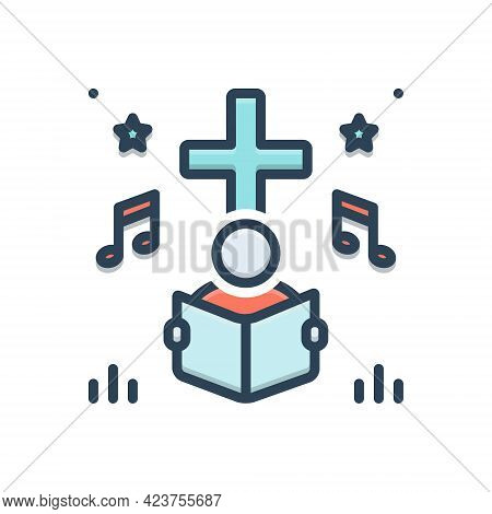 Color Illustration Icon For Hymn People Religious-song Psalm Homily Melodious