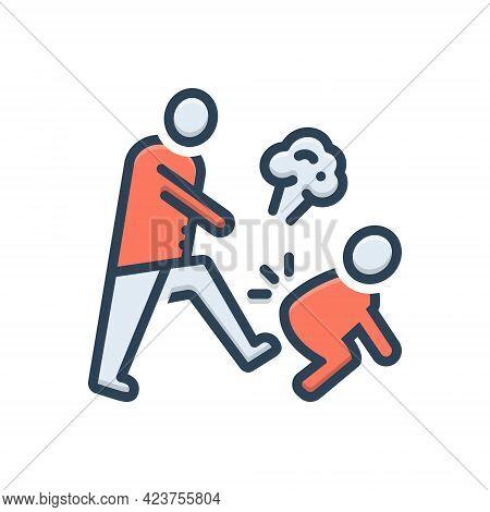 Color Illustration Icon For Hostile Enemy Rancorous Malicious Jealous