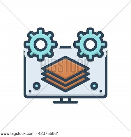 Color Illustration Icon For Fullstack Computer Program Multitasking Complete Absolute Complete Thoro