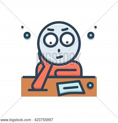 Color Illustration Icon For Fixation Determination Allocation Think
