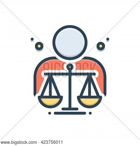 Color Illustration Icon For Ethical Moral Ethic Virtuous Righteous Judgement