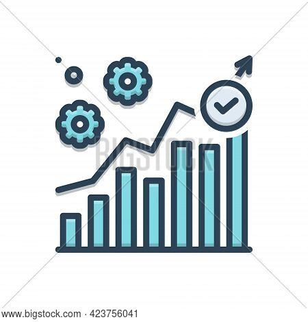 Color Illustration Icon For Executing Management Trade Processing Progress