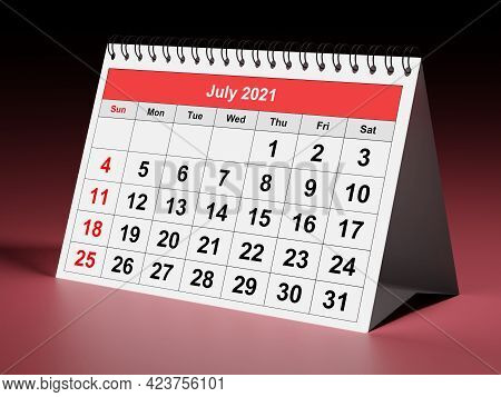 One Page Of The Annual Monthly Calendar - Month July 2021. 3d Rendering