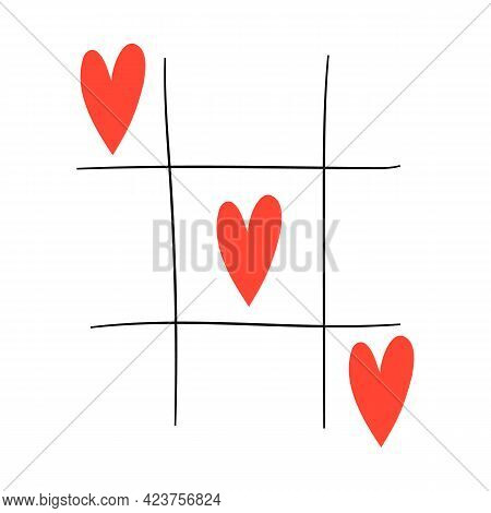 Valentines Day Concept. Tic-tac-toe Game With Criss Cross And Hearts. Hand Drawn Colored Vector Illu
