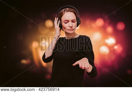 Image Of A Girl In A Black Dress With Headphones In A Nightclub. Party Concept. Mixed Media