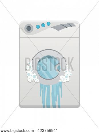 Broken home appliances. Damaged washing machine. Domestic icons isolated on white. Burning electronics. Homeappliances or burnt electrical household equipment
