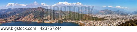 Panoramic View Ofmount Annapurna And Manaslu Himalayan Range, Pokhara And Phewa Lake, Pokhara Valley