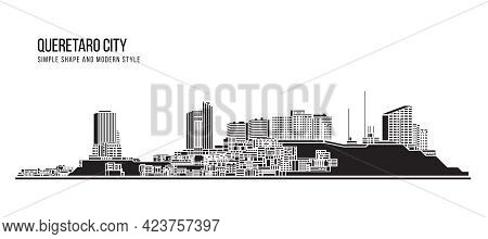 Cityscape Building Abstract Simple Shape And Modern Style Art Vector Design - Queretaro City