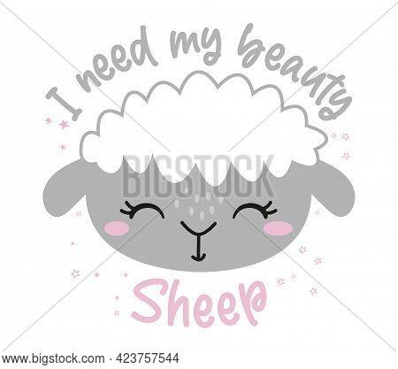 I Need My Beauty Sheep (beauty Sleep) - Funny Hand Drawn Doodle Sheep. Sleeping Mask, Stars, Hearts.