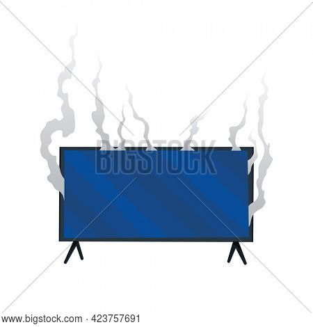 Broken home appliances. Damaged monitor. Domestic icon isolated on white. Burning electronics. Homeappliances or burnt electrical household equipment in fire
