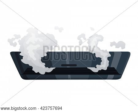 Broken home appliances. Damaged conditioner. Domestic icon isolated on white. Burning electronics. Homeappliances or burnt electrical household equipment in fire