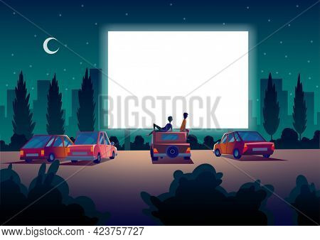 Car street cinema. Drive-in theater with automobiles stand in open air parking at night. Large outdoor screen. Cinema night banner in cartoon style