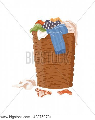 Dirty clothes. Laundry basket filled with smelly clothes. Laundry mud stains on garments. Symbol of unclean mess set. Apparel with stains
