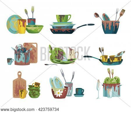 Set of dirty dishes plates and cups saucepan with remains fat stains. Cutting board spoons and sauce puddles ladle and cutlery. Icons of dirty kitchen utensil. Household and kitchenware concept