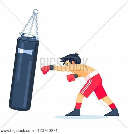 Young Professional Boxer With Big Bags Of Sand Boxing, Exercising. Fitness, Sport, Exercise, Will Po